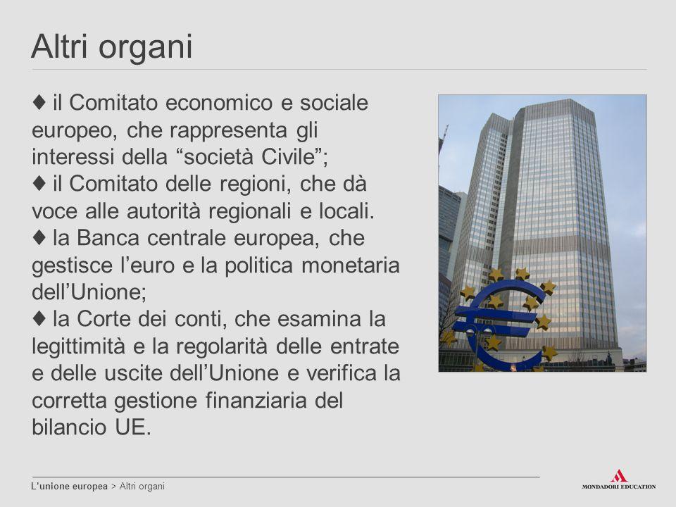 """Altri organi L'unione europea > Altri organi ♦ il Comitato economico e sociale europeo, che rappresenta gli interessi della """"società Civile""""; ♦ il Com"""