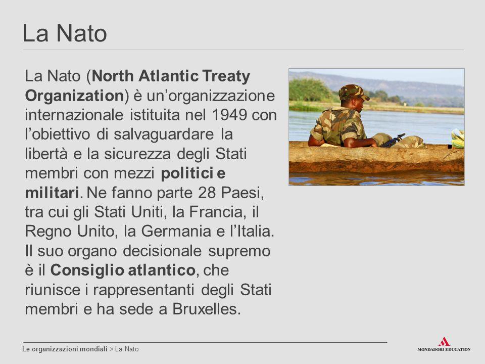 La Nato Le organizzazioni mondiali > La Nato La Nato (North Atlantic Treaty Organization) è un'organizzazione internazionale istituita nel 1949 con l'