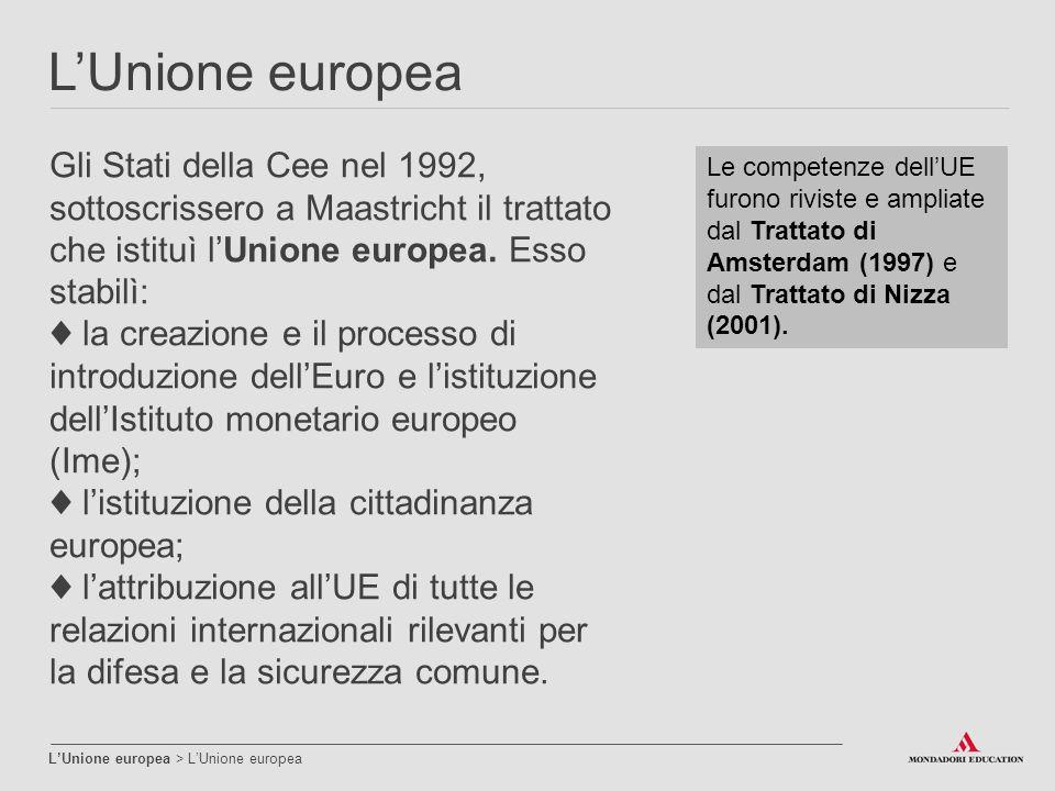 L'Unione europea L'Unione europea > L'Unione europea Gli Stati della Cee nel 1992, sottoscrissero a Maastricht il trattato che istituì l'Unione europe