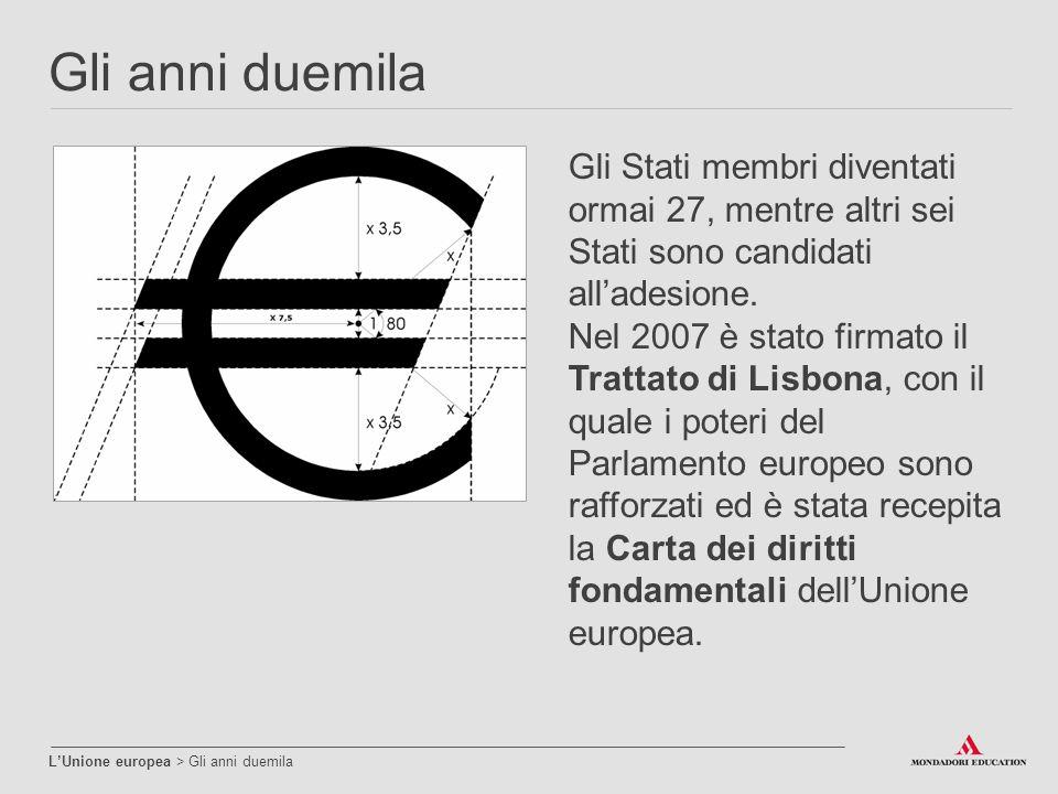 Gli anni duemila L'Unione europea > Gli anni duemila Gli Stati membri diventati ormai 27, mentre altri sei Stati sono candidati all'adesione. Nel 2007