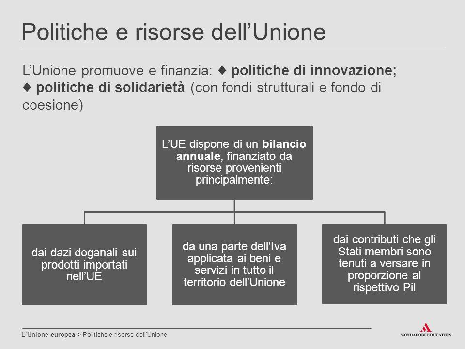 Politiche e risorse dell'Unione L'Unione europea > Politiche e risorse dell'Unione L'Unione promuove e finanzia: ♦ politiche di innovazione; ♦ politic