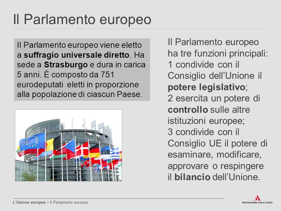 Il Parlamento europeo L'Unione europea > Il Parlamento europeo Il Parlamento europeo viene eletto a suffragio universale diretto. Ha sede a Strasburgo