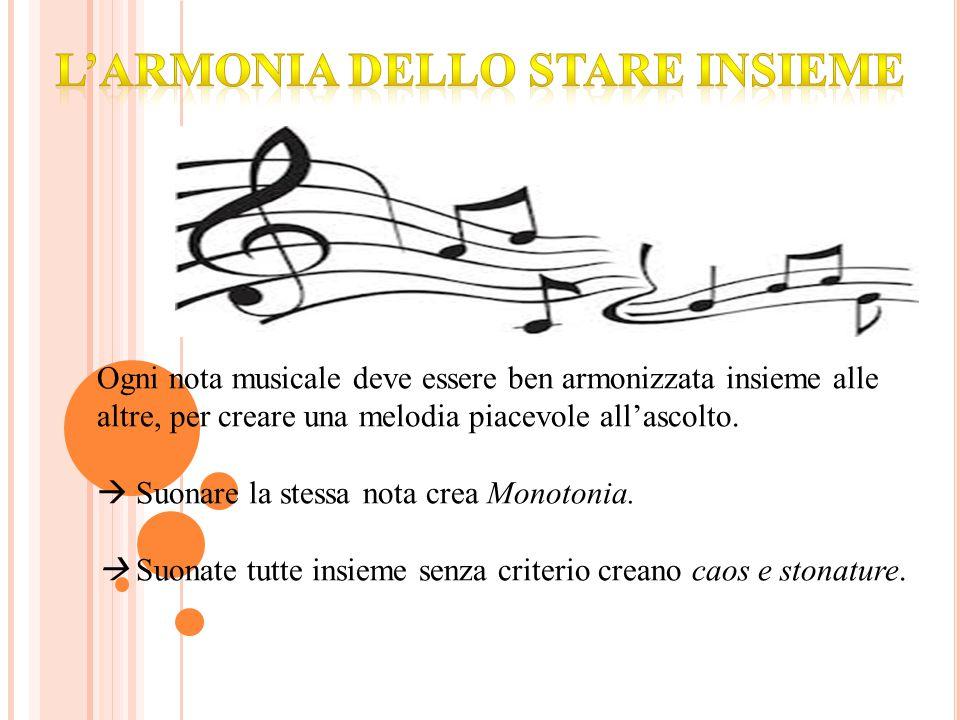 Ogni nota musicale deve essere ben armonizzata insieme alle altre, per creare una melodia piacevole all'ascolto.