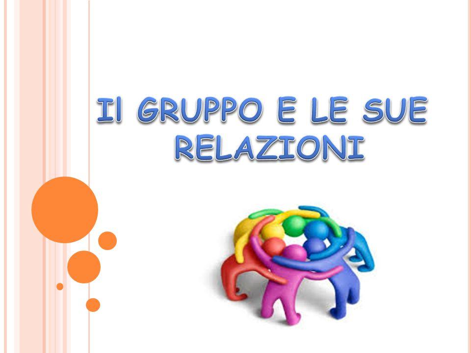  In un gruppo dunque si stabiliscono soprattutto RELAZIONI tra persone, di varia natura (amicali, d'affetto, di condivisione, partecipazione…).