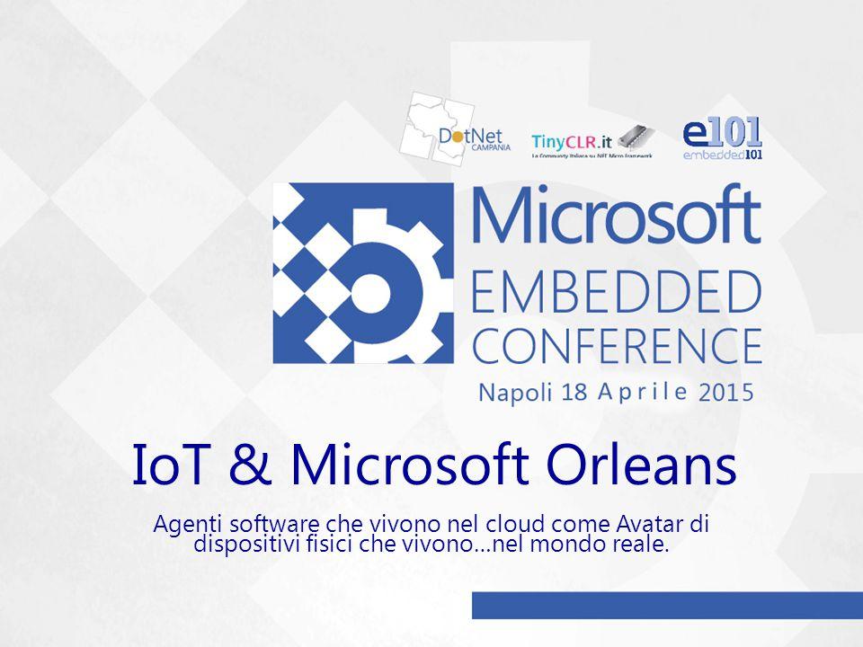 IoT & Microsoft Orleans Agenti software che vivono nel cloud come Avatar di dispositivi fisici che vivono…nel mondo reale.