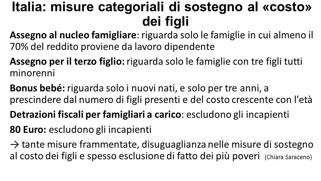 Italia: misure categoriali di sostegno al «costo» dei figli Assegno al nucleo famigliare: riguarda solo le famiglie in cui almeno il 70% del reddito p