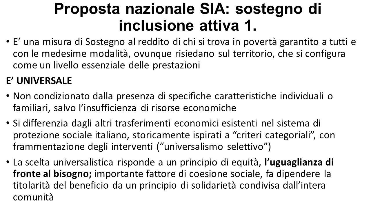 Proposta nazionale SIA: sostegno di inclusione attiva 1. E' una misura di Sostegno al reddito di chi si trova in povertà garantito a tutti e con le me