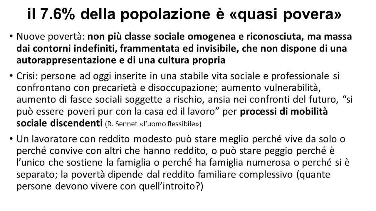 il 7.6% della popolazione è «quasi povera» Nuove povertà: non più classe sociale omogenea e riconosciuta, ma massa dai contorni indefiniti, frammentat