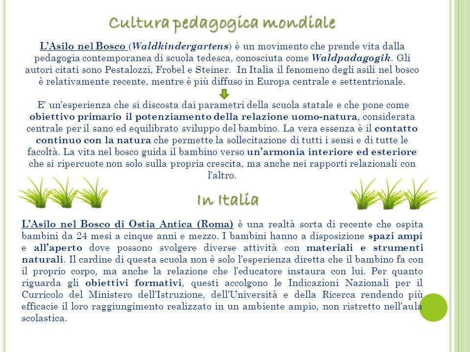 L'Asilo nel Bosco ( Waldkindergartens ) è un movimento che prende vita dalla pedagogia contemporanea di scuola tedesca, conosciuta come Waldpadagogik.