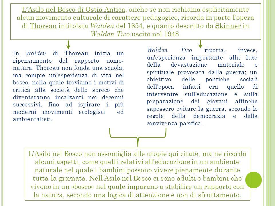 L'Asilo nel Bosco di Ostia Antica, anche se non richiama esplicitamente alcun movimento culturale di carattere pedagogico, ricorda in parte l'opera di