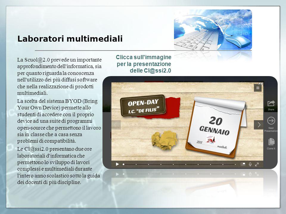 La Scuol@2.0 prevede un importante approfondimento dell informatica, sia per quanto riguarda la conoscenza nell utilizzo dei più diffusi software che nella realizzazione di prodotti multimediali.
