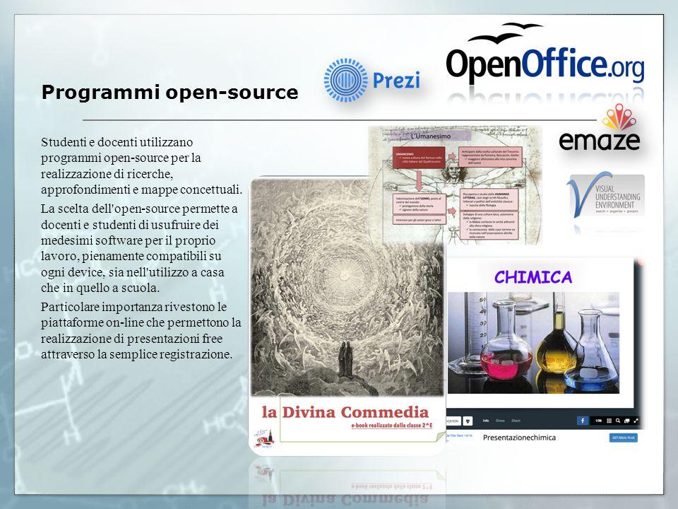 Programmi open-source Studenti e docenti utilizzano programmi open-source per la realizzazione di ricerche, approfondimenti e mappe concettuali.