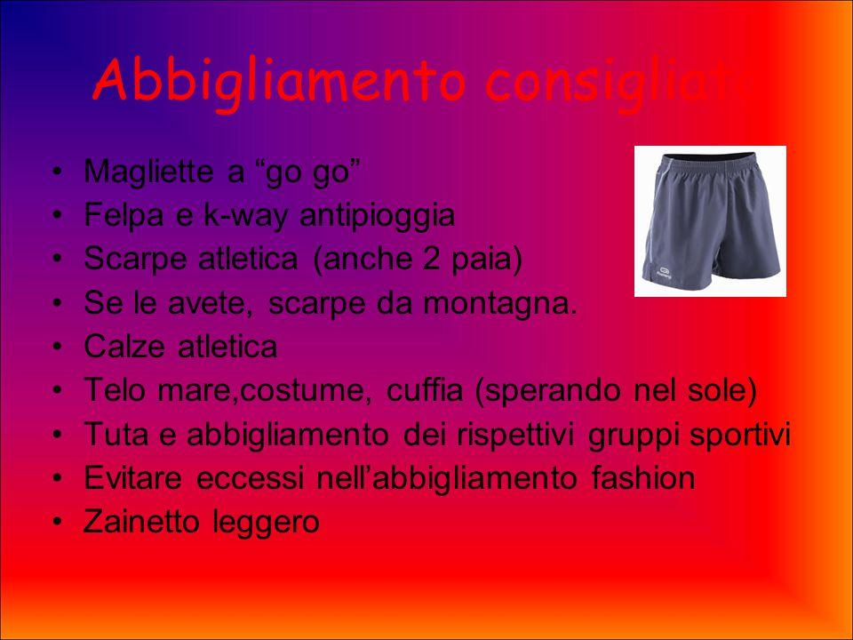 Abbigliamento consigliato Magliette a go go Felpa e k-way antipioggia Scarpe atletica (anche 2 paia) Se le avete, scarpe da montagna.