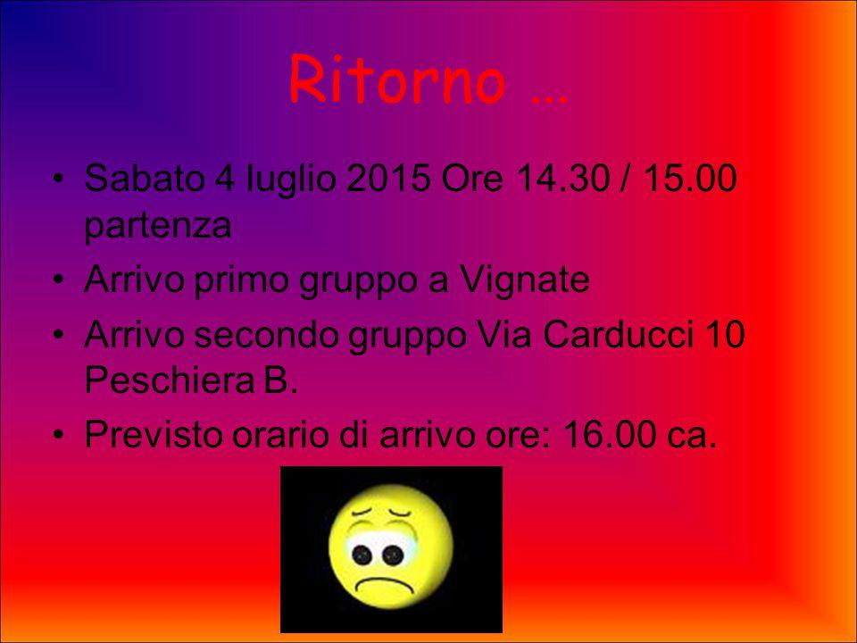 Ritorno … Sabato 4 luglio 2015 Ore 14.30 / 15.00 partenza Arrivo primo gruppo a Vignate Arrivo secondo gruppo Via Carducci 10 Peschiera B.