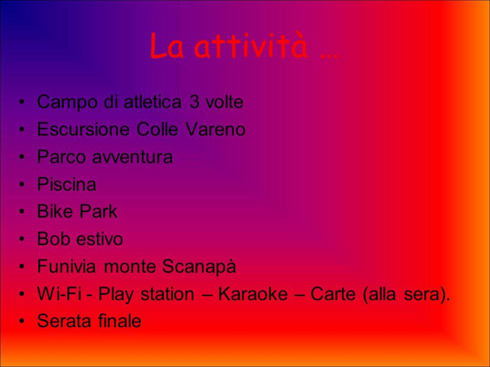 La attività … Campo di atletica 3 volte Escursione Colle Vareno Parco avventura Piscina Bike Park Bob estivo Funivia monte Scanapà Wi-Fi - Play station – Karaoke – Carte (alla sera).