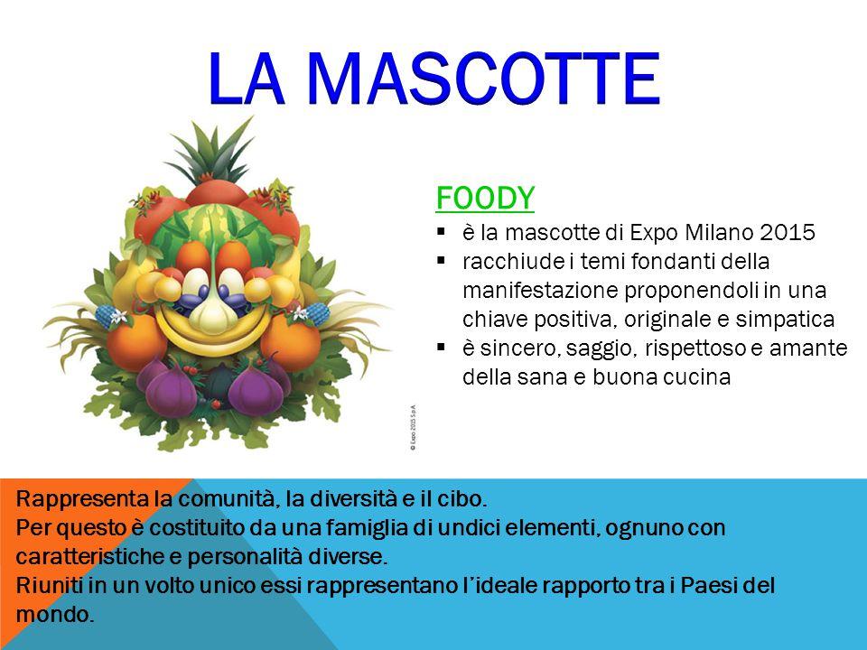 FOODY  è la mascotte di Expo Milano 2015  racchiude i temi fondanti della manifestazione proponendoli in una chiave positiva, originale e simpatica