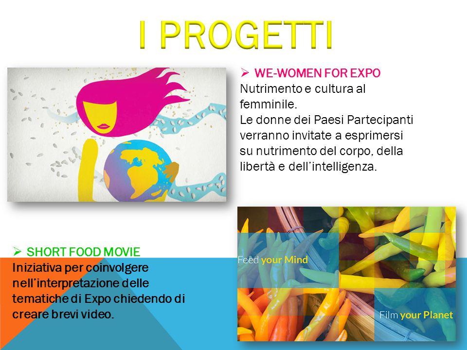  WE-WOMEN FOR EXPO Nutrimento e cultura al femminile. Le donne dei Paesi Partecipanti verranno invitate a esprimersi su nutrimento del corpo, della l