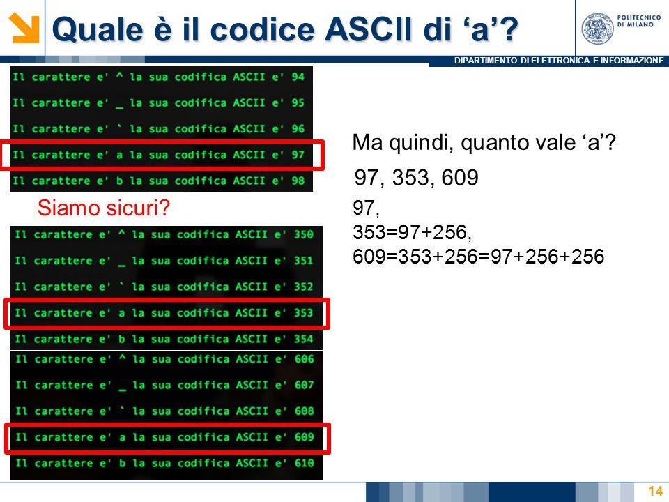DIPARTIMENTO DI ELETTRONICA E INFORMAZIONE Quale è il codice ASCII di 'a'.
