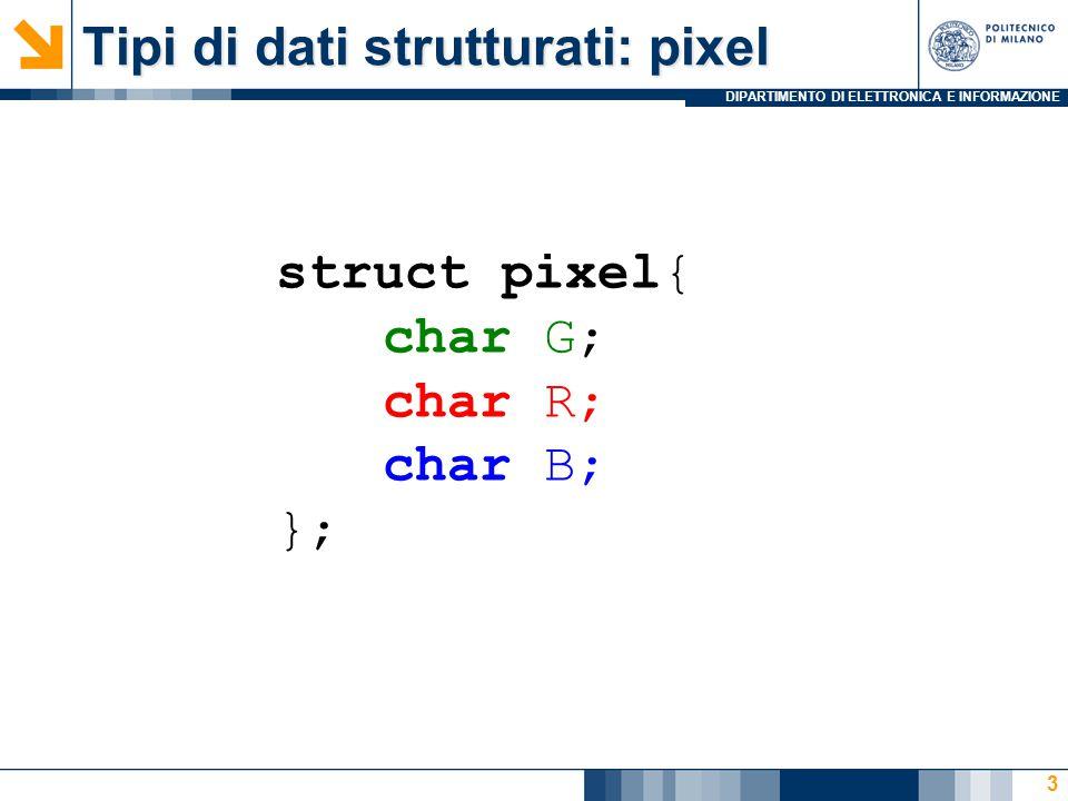 DIPARTIMENTO DI ELETTRONICA E INFORMAZIONE Tipi di dati strutturati: pixel struct pixel{ char G; char R; char B; }; 3