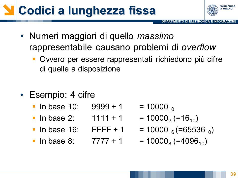 DIPARTIMENTO DI ELETTRONICA E INFORMAZIONE Codici a lunghezza fissa Numeri maggiori di quello massimo rappresentabile causano problemi di overflow  Ovvero per essere rappresentati richiedono più cifre di quelle a disposizione Esempio: 4 cifre  In base 10:9999 + 1= 10000 10  In base 2:1111 + 1= 10000 2 (=16 10 )  In base 16:FFFF + 1= 10000 16 (=65536 10 )  In base 8:7777 + 1= 10000 8 (=4096 10 ) 39