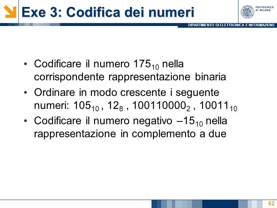 DIPARTIMENTO DI ELETTRONICA E INFORMAZIONE Exe 3: Codifica dei numeri Codificare il numero 175 10 nella corrispondente rappresentazione binaria Ordinare in modo crescente i seguente numeri: 105 10, 12 8, 100110000 2, 10011 10 Codificare il numero negativo –15 10 nella rappresentazione in complemento a due 62