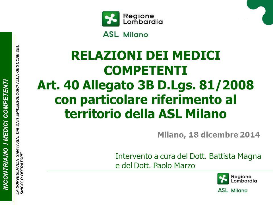 RELAZIONI DEI MEDICI COMPETENTI Art. 40 Allegato 3B D.Lgs.