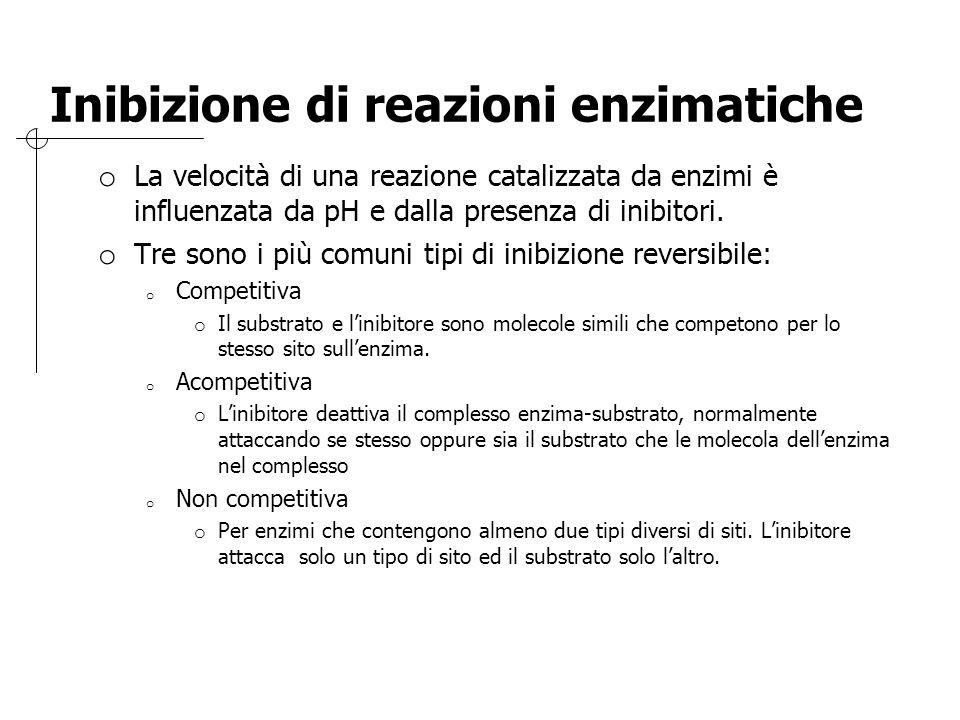 Inibizione di reazioni enzimatiche o La velocità di una reazione catalizzata da enzimi è influenzata da pH e dalla presenza di inibitori. o Tre sono i