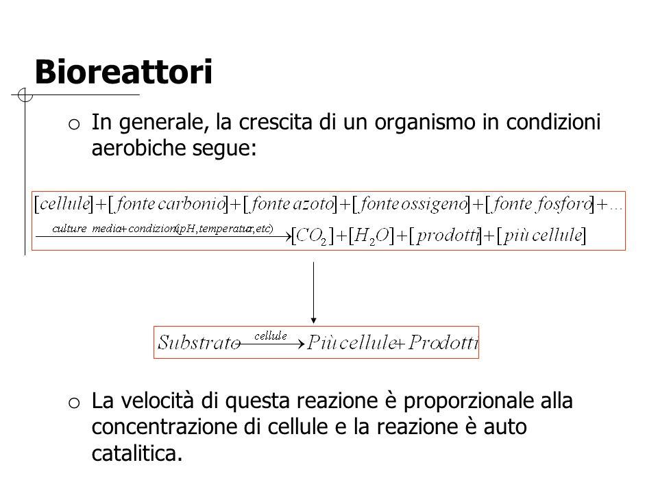 Bioreattori o In generale, la crescita di un organismo in condizioni aerobiche segue: o La velocità di questa reazione è proporzionale alla concentraz