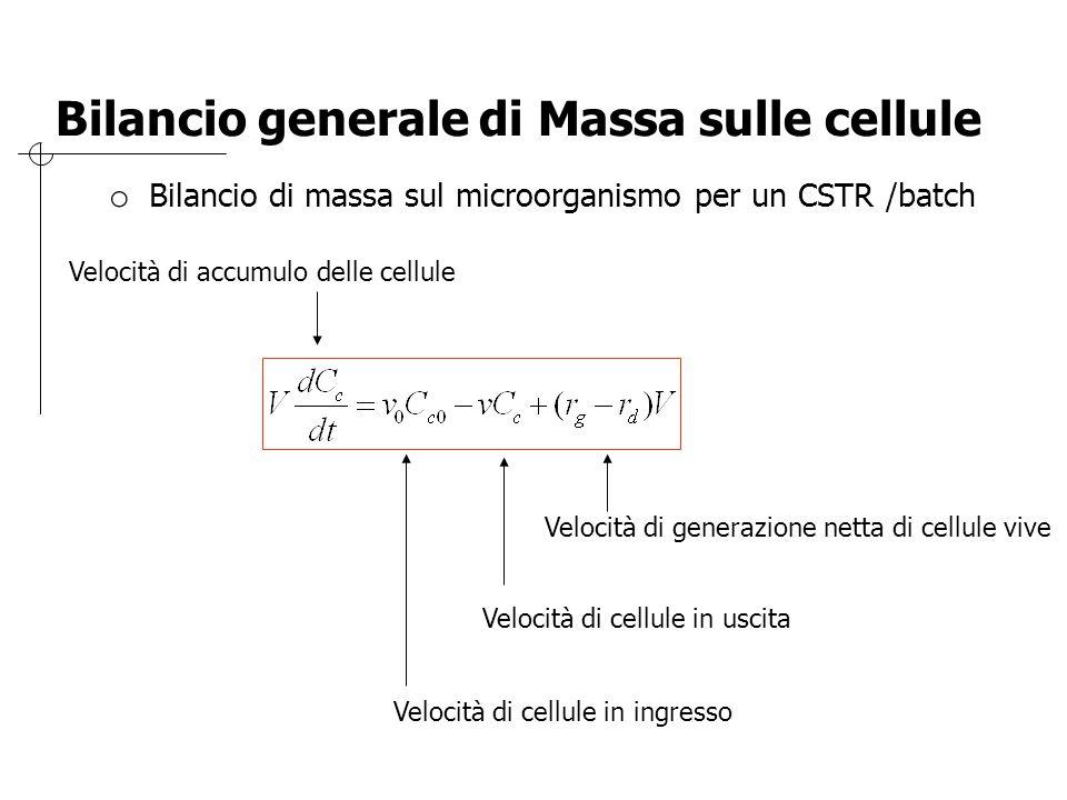 Bilancio generale di Massa sulle cellule o Bilancio di massa sul microorganismo per un CSTR /batch Velocità di accumulo delle cellule Velocità di cell