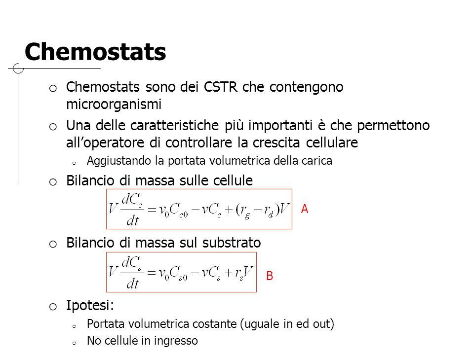 Chemostats o Chemostats sono dei CSTR che contengono microorganismi o Una delle caratteristiche più importanti è che permettono all'operatore di contr