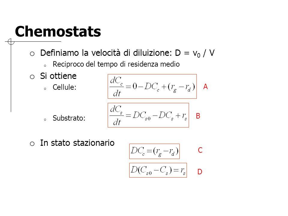 Chemostats o Definiamo la velocità di diluizione: D = v 0 / V o Reciproco del tempo di residenza medio o Si ottiene o Cellule: o Substrato: o In stato