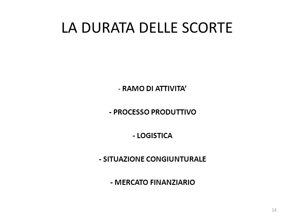 LA DURATA DELLE SCORTE - RAMO DI ATTIVITA' - PROCESSO PRODUTTIVO - LOGISTICA - SITUAZIONE CONGIUNTURALE - MERCATO FINANZIARIO 14