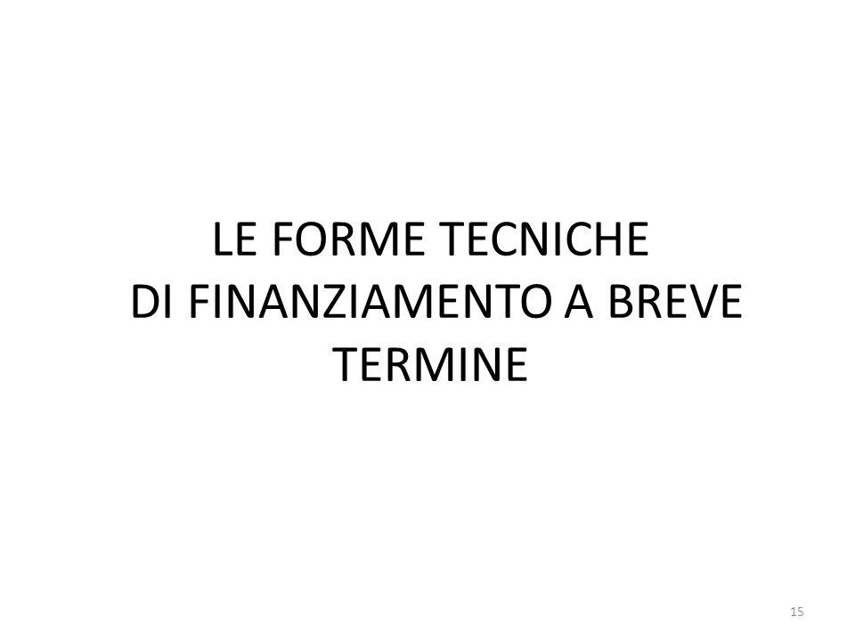 LE FORME TECNICHE DI FINANZIAMENTO A BREVE TERMINE 15