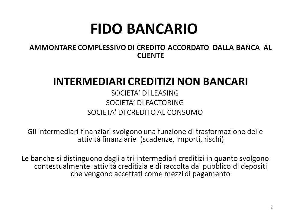 FIDO BANCARIO AMMONTARE COMPLESSIVO DI CREDITO ACCORDATO DALLA BANCA AL CLIENTE INTERMEDIARI CREDITIZI NON BANCARI SOCIETA' DI LEASING SOCIETA' DI FACTORING SOCIETA' DI CREDITO AL CONSUMO Gli intermediari finanziari svolgono una funzione di trasformazione delle attività finanziarie (scadenze, importi, rischi) Le banche si distinguono dagli altri intermediari creditizi in quanto svolgono contestualmente attività creditizia e di raccolta dal pubblico di depositi che vengono accettati come mezzi di pagamento 2