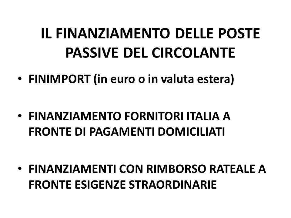 IL FINANZIAMENTO DELLE POSTE PASSIVE DEL CIRCOLANTE FINIMPORT (in euro o in valuta estera) FINANZIAMENTO FORNITORI ITALIA A FRONTE DI PAGAMENTI DOMICILIATI FINANZIAMENTI CON RIMBORSO RATEALE A FRONTE ESIGENZE STRAORDINARIE