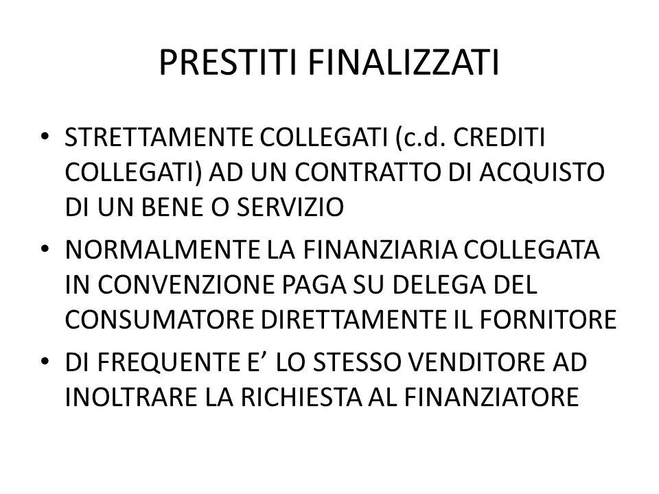 PRESTITI FINALIZZATI STRETTAMENTE COLLEGATI (c.d.