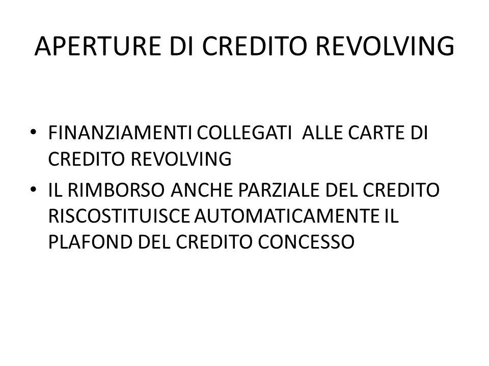 APERTURE DI CREDITO REVOLVING FINANZIAMENTI COLLEGATI ALLE CARTE DI CREDITO REVOLVING IL RIMBORSO ANCHE PARZIALE DEL CREDITO RISCOSTITUISCE AUTOMATICAMENTE IL PLAFOND DEL CREDITO CONCESSO