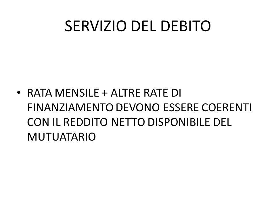 SERVIZIO DEL DEBITO RATA MENSILE + ALTRE RATE DI FINANZIAMENTO DEVONO ESSERE COERENTI CON IL REDDITO NETTO DISPONIBILE DEL MUTUATARIO