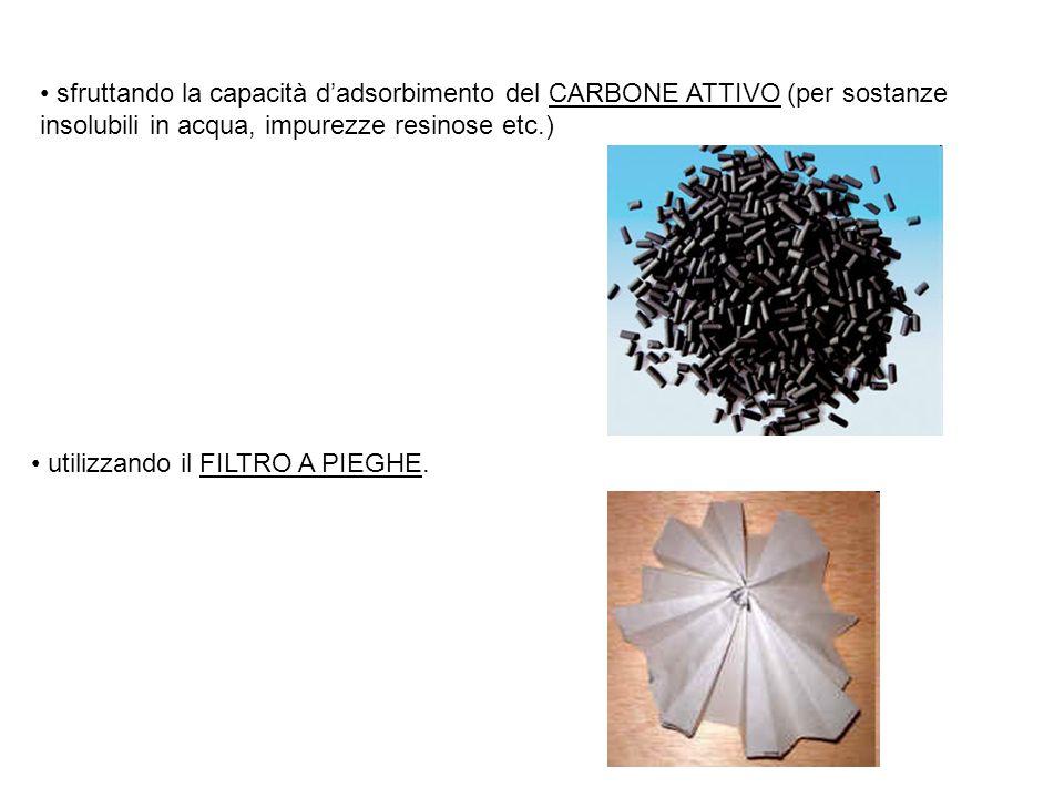 sfruttando la capacità d'adsorbimento del CARBONE ATTIVO (per sostanze insolubili in acqua, impurezze resinose etc.) utilizzando il FILTRO A PIEGHE.