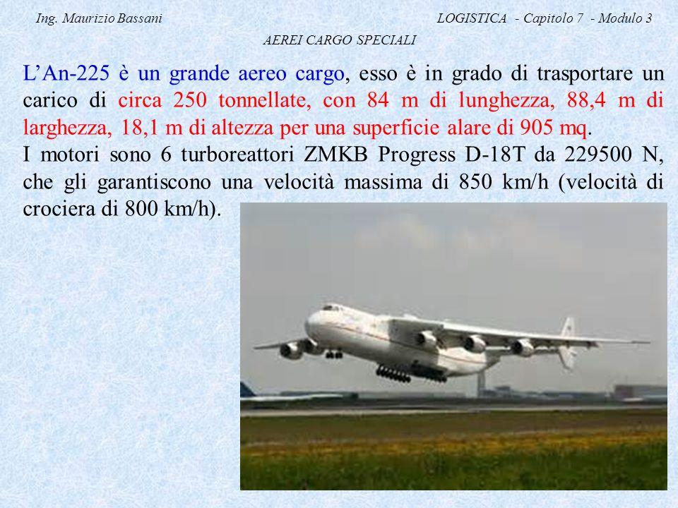 Ing. Maurizio Bassani LOGISTICA - Capitolo 7 - Modulo 3 AEREI CARGO SPECIALI L'An-225 è un grande aereo cargo, esso è in grado di trasportare un caric