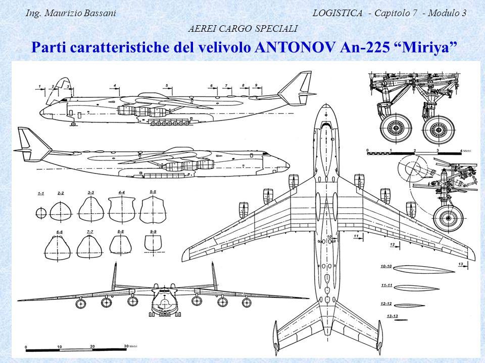 """Ing. Maurizio Bassani LOGISTICA - Capitolo 7 - Modulo 3 AEREI CARGO SPECIALI Parti caratteristiche del velivolo ANTONOV An-225 """"Miriya"""""""