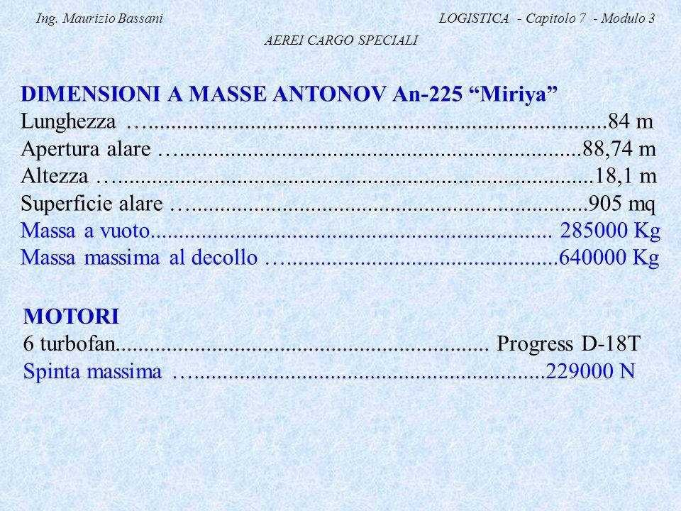 "Ing. Maurizio Bassani LOGISTICA - Capitolo 7 - Modulo 3 AEREI CARGO SPECIALI DIMENSIONI A MASSE ANTONOV An-225 ""Miriya"" Lunghezza …..................."