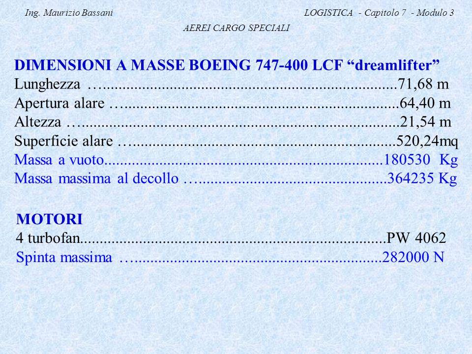 """Ing. Maurizio Bassani LOGISTICA - Capitolo 7 - Modulo 3 AEREI CARGO SPECIALI DIMENSIONI A MASSE BOEING 747-400 LCF """"dreamlifter"""" Lunghezza ….........."""