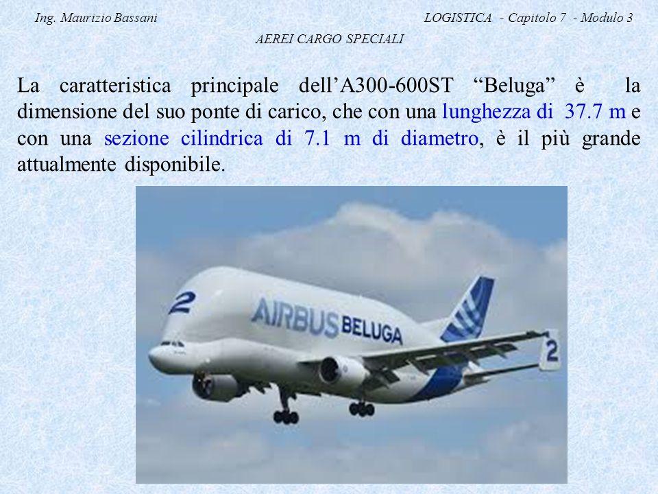 """Ing. Maurizio Bassani LOGISTICA - Capitolo 7 - Modulo 3 AEREI CARGO SPECIALI La caratteristica principale dell'A300-600ST """"Beluga"""" è la dimensione del"""