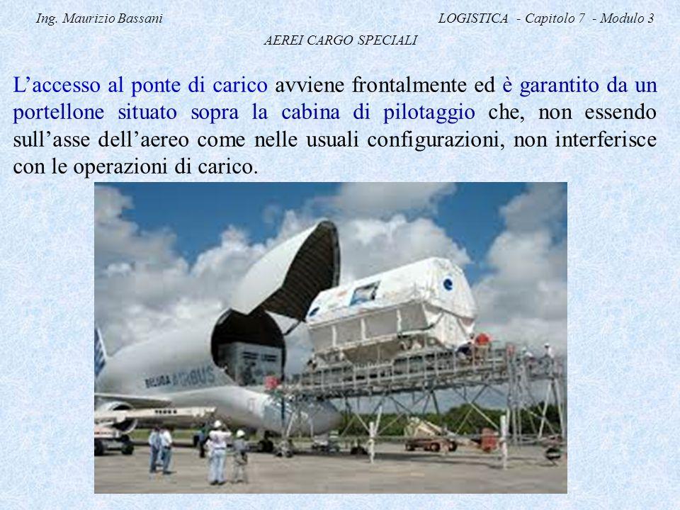 Ing. Maurizio Bassani LOGISTICA - Capitolo 7 - Modulo 3 AEREI CARGO SPECIALI L'accesso al ponte di carico avviene frontalmente ed è garantito da un po