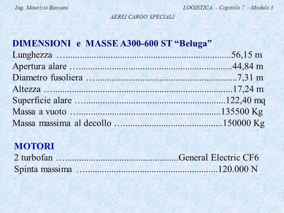 """Ing. Maurizio Bassani LOGISTICA - Capitolo 7 - Modulo 3 AEREI CARGO SPECIALI DIMENSIONI e MASSE A300-600 ST """"Beluga"""" Lunghezza …......................"""