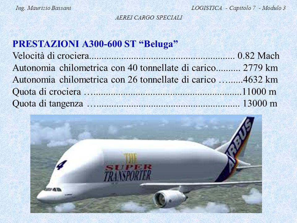 """Ing. Maurizio Bassani LOGISTICA - Capitolo 7 - Modulo 3 AEREI CARGO SPECIALI PRESTAZIONI A300-600 ST """"Beluga"""" Velocità di crociera...................."""
