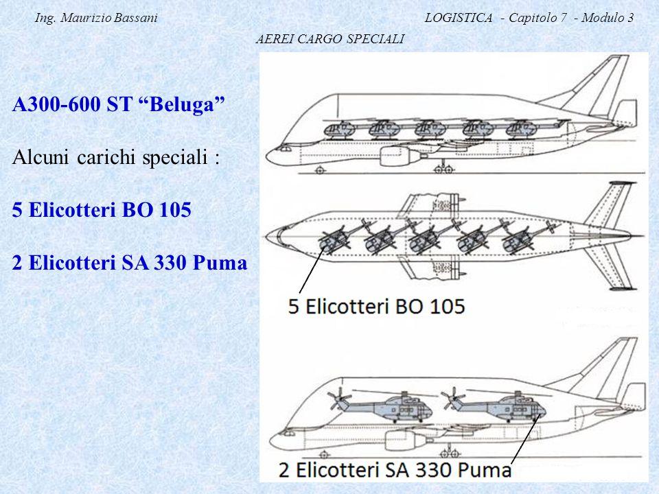 """Ing. Maurizio Bassani LOGISTICA - Capitolo 7 - Modulo 3 AEREI CARGO SPECIALI A300-600 ST """"Beluga"""" Alcuni carichi speciali : 5 Elicotteri BO 105 2 Elic"""