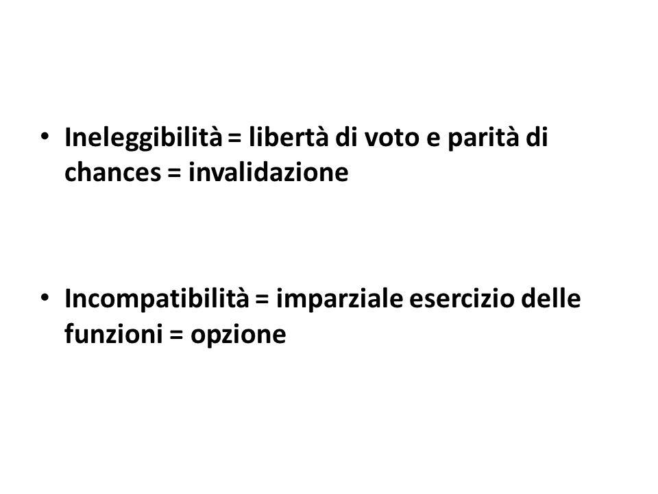 Ineleggibilità = libertà di voto e parità di chances = invalidazione Incompatibilità = imparziale esercizio delle funzioni = opzione