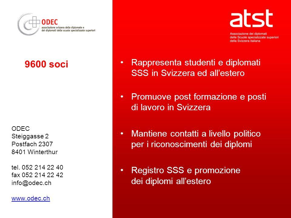 ODEC Steiggasse 2 Postfach 2307 8401 Winterthur tel. 052 214 22 40 fax 052 214 22 42 info@odec.ch www.odec.ch Rappresenta studenti e diplomati SSS in